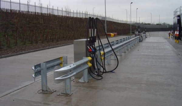 Armco Barriers Around a Fuel Pump